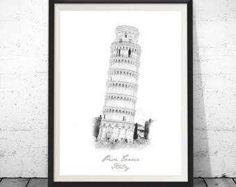 Pisa Tower, Pisa Tower Print,Pisa Art Print, Pisa Tower Poster, Tower Of Pisa, Pisa Wall Decor, Tower Of Pisa Poster, Pisa Monument Wall Art