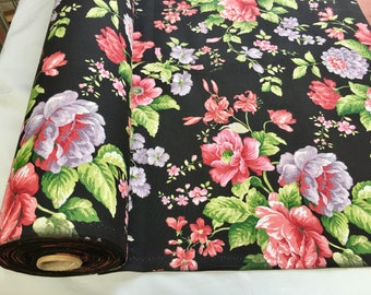 BLACk Floral Rose Print Designer Curtain Upholstery Cotton Fabric 280cm extra wide - sold by the metre