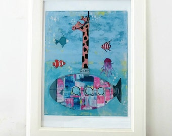 Giraffe Submarine, Art Print, Wall Decor, Kids Art, Nursery Decor, Wall Art, Giraffe illustration, Colorful Quirky Art, Art Gift, 3 sizes