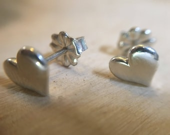 Tiny Silver Heart Stud Earrings Gifts for Bridesmaids Sterling Silver Heart Earrings Stocking Stuffer Christmas Gift Valentine's Day Gift