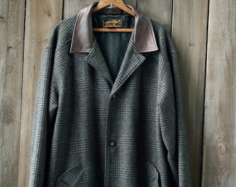 Tweed Wool Trench Coat Mens Over Coat With Leather Medium Herringbone Gray Vintage From Nowvintage On Etsy