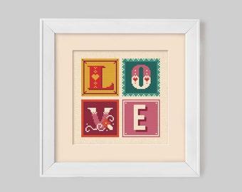 LOVE Retro Typographic Cross Stitch Pattern (Digital Format - PDF)