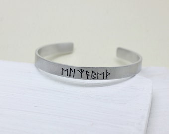 Viking Rune personalised name bangle cuff bracelet - adjustable - handstamped