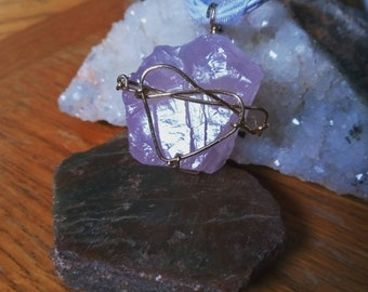 Gold Wire Heart Wrapped Rose Quartz