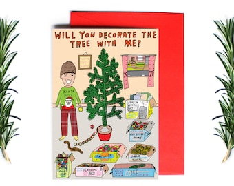 Christmas Cards - Will You Decorate The Tree With Me? | Greeting Card | Holiday Card | Funny Christmas Card