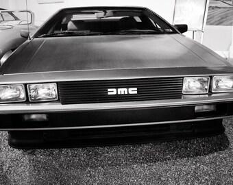 1981 DeLorean DMC-12 Front View Car Photography, Automotive, Auto Dealer, Sports Car, Mechanic, Boys Room, Garage, Dealership Art