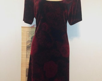 Vintage 1990s 90s Connected Floral and Paisley Velvet Dress