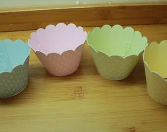 12 Vintage Style Spot or Plain Pastel Cupcake Wrappers, various colours