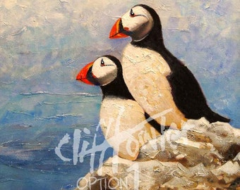 Puffins fine art print. Wildlife artist Cliff Towler, painting, Art Print, Wildlife Art, Bird Art, Childrens room, Nature painting, Wall art