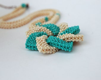 Seed Bead Necklace , Beadwoven Necklace , Star Pendant , Statement Necklace , Free shipping in USA ,
