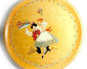SALE -Hand Painted Tray, Folk Art Tray, Scandinavian Tray, Decorative Tray, Handmade Vintage Tray, Dancing Couple Tray, Vintage Serving Tray