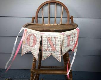 First Birthday Banner | O-N-E | 1st Birthday Banner | Vintage Sheet Music Birthday Banner