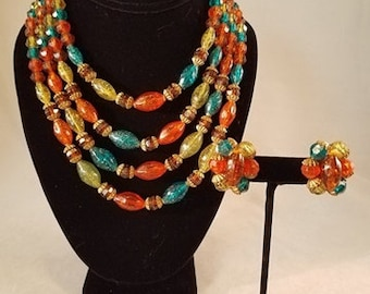 Vintage 4-Strand Festive Multi Colored Necklace With Matching Earrings