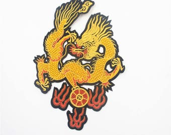 1 Pc Chinese Dragon Embroidered Patch , Dragon Applique for Garment,Large Chinese Dragon Applique Patch,