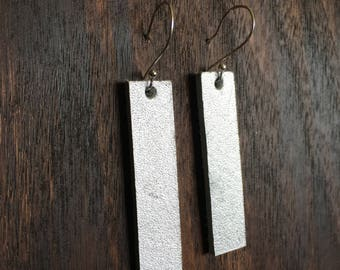 Silver Leather Tab Style Earrings