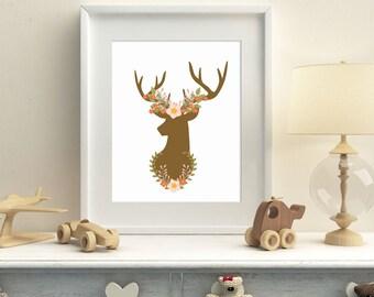 Woodland deer printable wall art, nursery woodland wall art, deer horns and flowers wall decor, instant download home decor