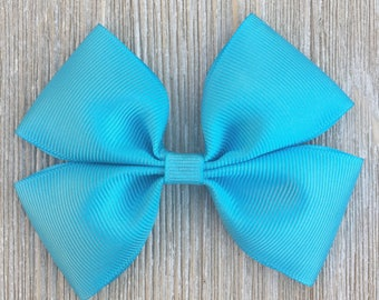 Blue Stacked Grosgrain Ribbon Hair bow for Girls back to school everyday wear on a Barrette or clip or headband