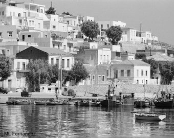 Chora of Mykonos, Greek architecture, Cyclades islands, black and white photo, white washed stone houses, Mediterranean island, year 1960s