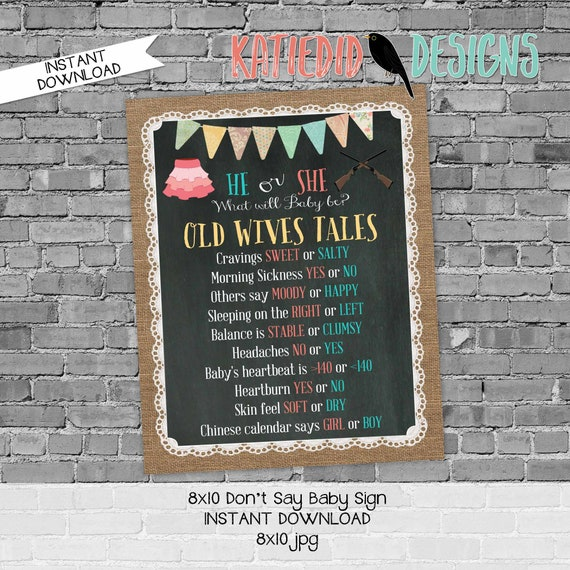 Old wives tales sign rifles or ruffles gender reveal invitation couples baby shower party game burlap lace chalkboard | 1462 Katiedid design