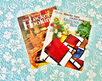 PAIR of (2) LOCKER HOOKING With Fabric or Yarn Books