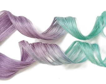 Clip in Color Melt Human Hair Extensions Pastel Dip Dye Ombre Purple Mint Teal Green Rainbow