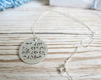 My secret place necklace - coordinates necklace