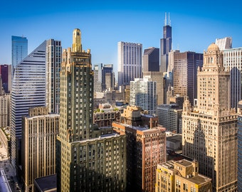 Chicago Skyline and Willis Tower Art Photography Print Wall Decor