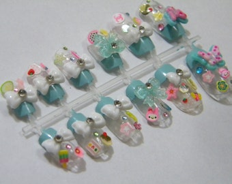Baby Blue Japanese Nail Art