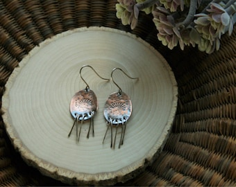 Hammered Copper Dangles. Lightweight. Sterling Silver Earwires. OOAK.