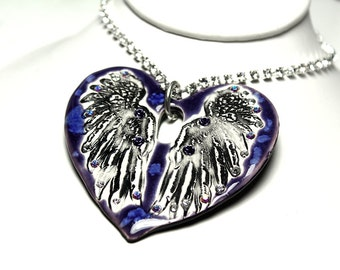 Purple Heart With Wings Sparkle Surly Necklace with Swarovski Crystals