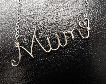 Sterling Silver Name Necklace Mum Personalised Necklace Custom Name Necklace Word Sterling Silver Word Necklace Wire Name Necklace
