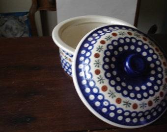 Vintage Lidded Casserole Boleslawiec Poland, Pottery is HandMade.
