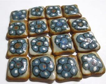 16 Ceramic Painted Tiles