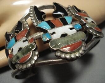Museum Quality Older Vintage Zuni Turquoise Coral Sterling Silver Bracelet Old