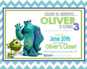 Monsters Inc Birthday Invitation- Printable