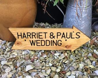 Personalised wedding arrow sign- wedding sign post- Directional sign- Rustic wedding sign- rustic sign- garden decor -wedding decor