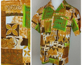 Sale *** MEMORIAL DAY SALE Vintage Malihini Hawaii Tiki Shirt