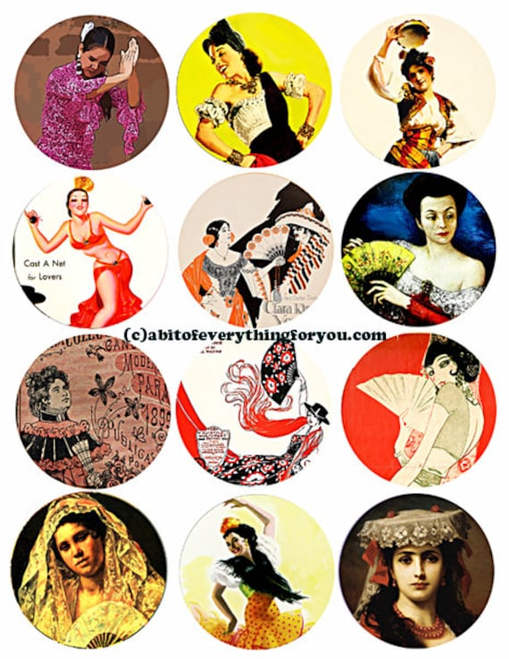 spanish flamenco dancers latin women spain art clipart collage sheet 2.5 inch circles Printable Download print-it-yourself Digital Sheet