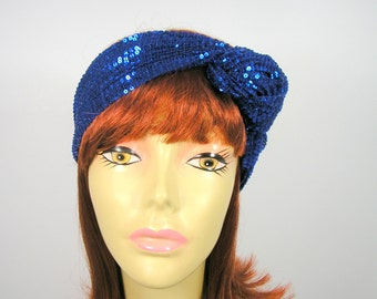 Royal Blue Sequin Head Wrap Electric Blue Sequined Turban Royal Blue Sequin Choker Electric Blue Sequin Headwrap Electric Blue Headwrap