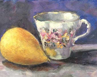 English Tea cup and pear original oil painting  5 x 7""