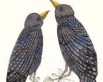 Starlings - watercolor painting