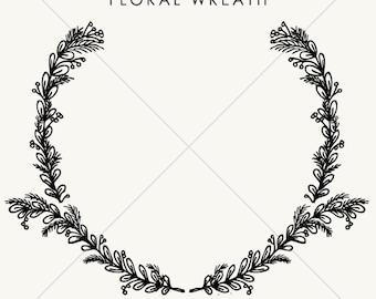 Hand Drawn Laurel Wreath // Instant Download