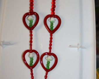 Red Glass Heart & White Rose Stem Necklace