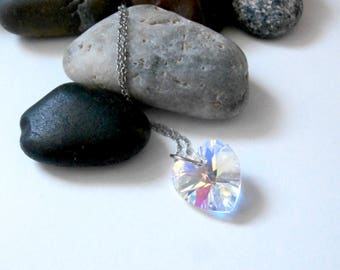 Crystal Heart Necklace - Upcycled Jewelry - Sterling Silver Chain