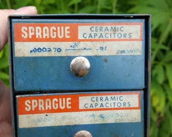 SALE - Vintage Metal Two Drawer Industrial Chest Of New Old Stock Sprague Ceramic Capacitors from Rustysecrets
