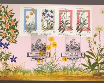 Australia Alpine FLOWERS Booklet Pane Vending Machine 1986 Maxi Card