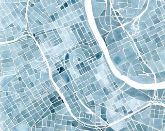 Memphis watercolor painting city map memphis tennessee indigo nashville blueprint 8x8 12x12 16x16 summit ridge map print indigo blue jean southern city map malvernweather Images