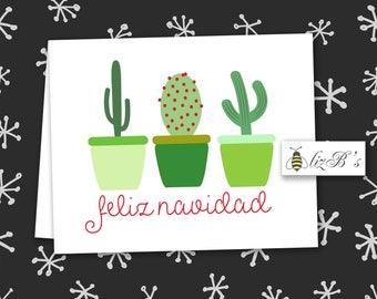 Feliz Navidad Cacti Folded Note Cards