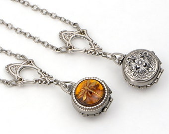 Small Antiqued Silver Locket Necklace, Amber Dragonfly Necklace Pendant, Dragonfly Locket, Gift for Sister Best Friend Mom, Dragonfly Gift