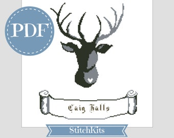 Cross Stitch PDF download chart, Contemporary Ornamental Stag, cross stitch design by Ruth Caig